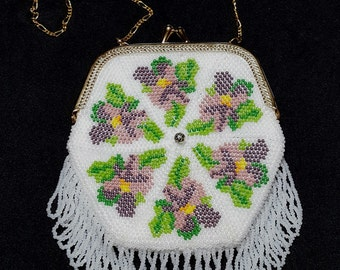 The Violetta, a bead knit, vintage replica Dutch style purse with purse frame
