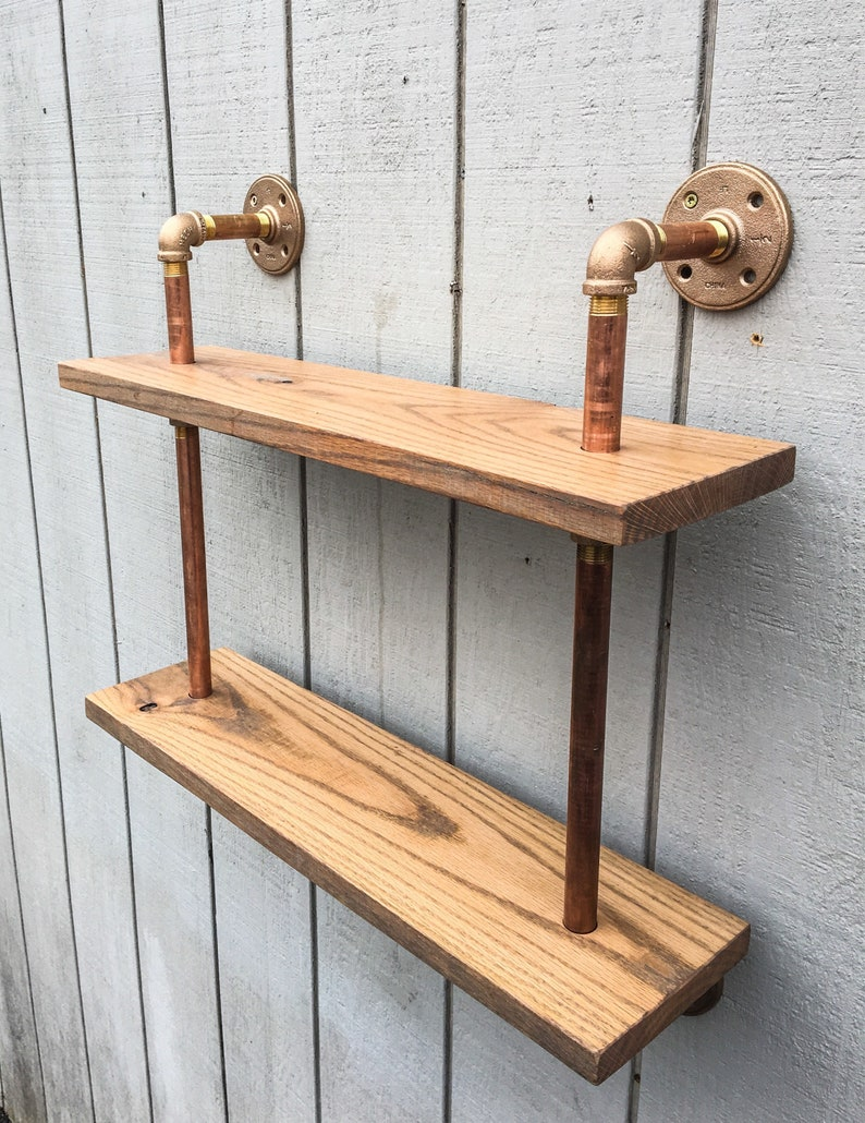 Copper Pipe Bookshelf Reclaimed Wood Wall Mount Brass image 0