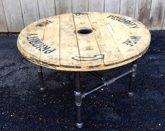 Beautiful Reclaimed Wood Spool Coffee Table, Industrial Salvage, Rustic Coffee Table,  Upcycled Table,