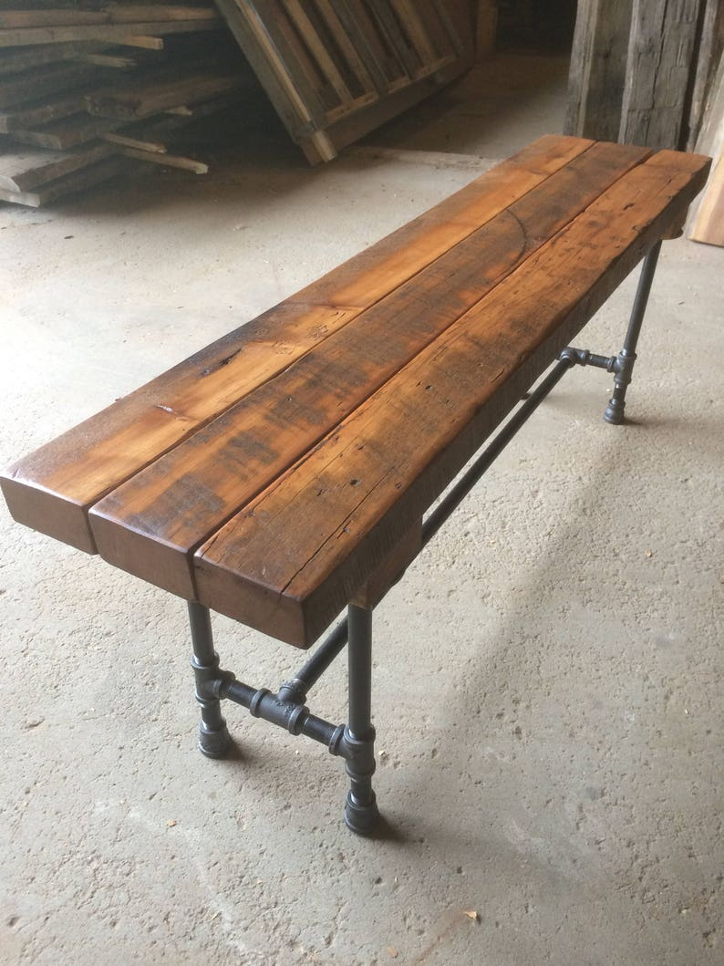 The Foundry Bench Reclaimed Wood Beam Rustic Bench Farmhouse image 0