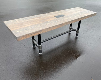 Reclaimed Wood Bar Table with Espresso Finish, Restaurant  High Top Communal Table, Rustic Community Table, Conference, Meeting Pub Casters