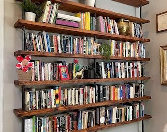 Reclaimed Wood Bookshelf, Built In Wall Mount Bookcase with Desk, Industrial Shelf Unity