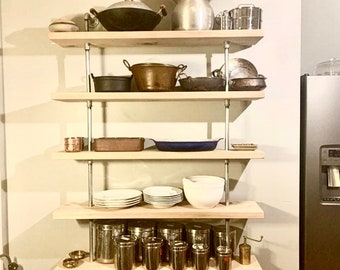 Reclaimed Wood and Gas Pipe Open Kitchen Shelving Wall Mounted Floating Shelf