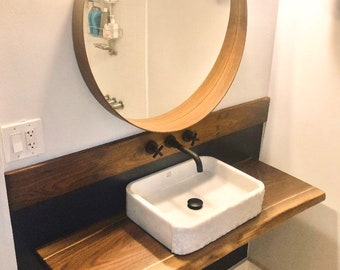 Live Edge Vanity for Basin Sink or Wall Mounted Floating Vessel Sink Raw Walnut Table
