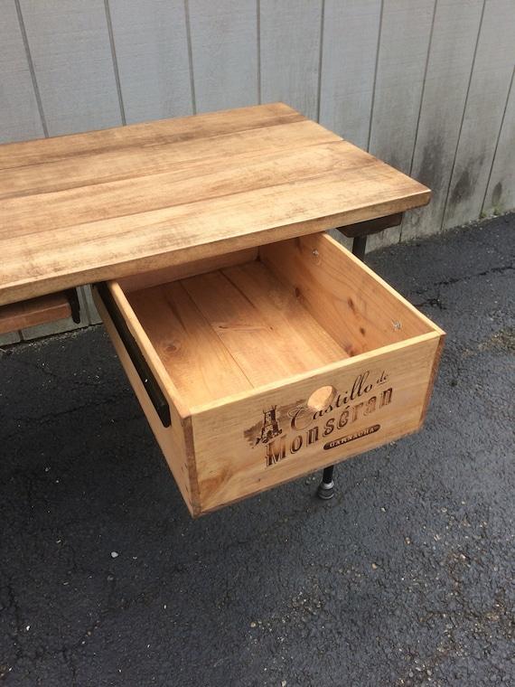 reclaimed salvaged crate storage drawer add on desk drawer etsy. Black Bedroom Furniture Sets. Home Design Ideas