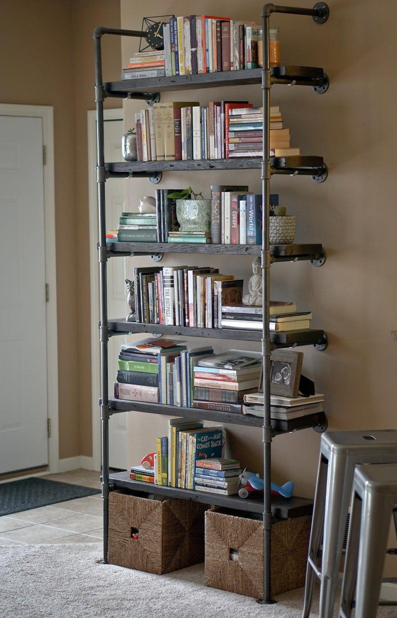 The Atwood Wall Mount Bookcase Reclaimed Wood Bookshelf Pipe image 0