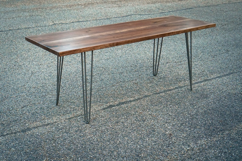 Black Walnut Dining Table with Hairpin Legs Reclaimed Black image 0