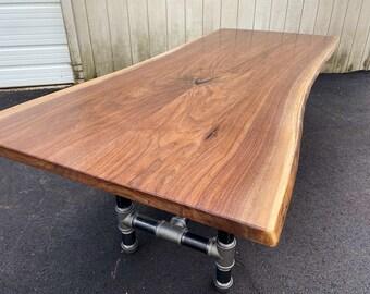 Walnut Dining Table,  Live Edge Walnut Slab Table, Nakashima Inspired Foundry Table, Modern Bar Table