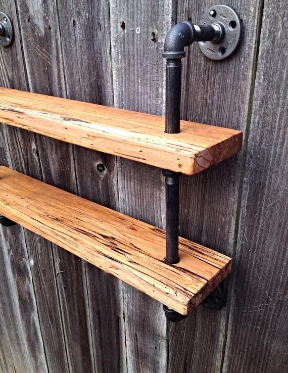 Reclaimed Double Bookshelf Curio Shelf Pipe Rustic