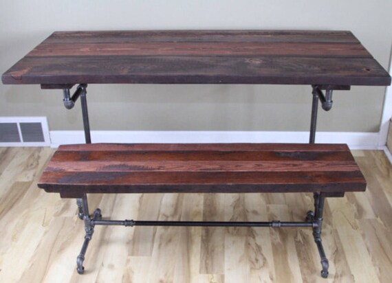 Awe Inspiring The Sprocketmaker Bench Reclaimed Wood Bench Farmhouse Bench Dining Bench Rustic Industrial Reclaimed Wood And Pipe Bench Metal Leg Bench Spiritservingveterans Wood Chair Design Ideas Spiritservingveteransorg