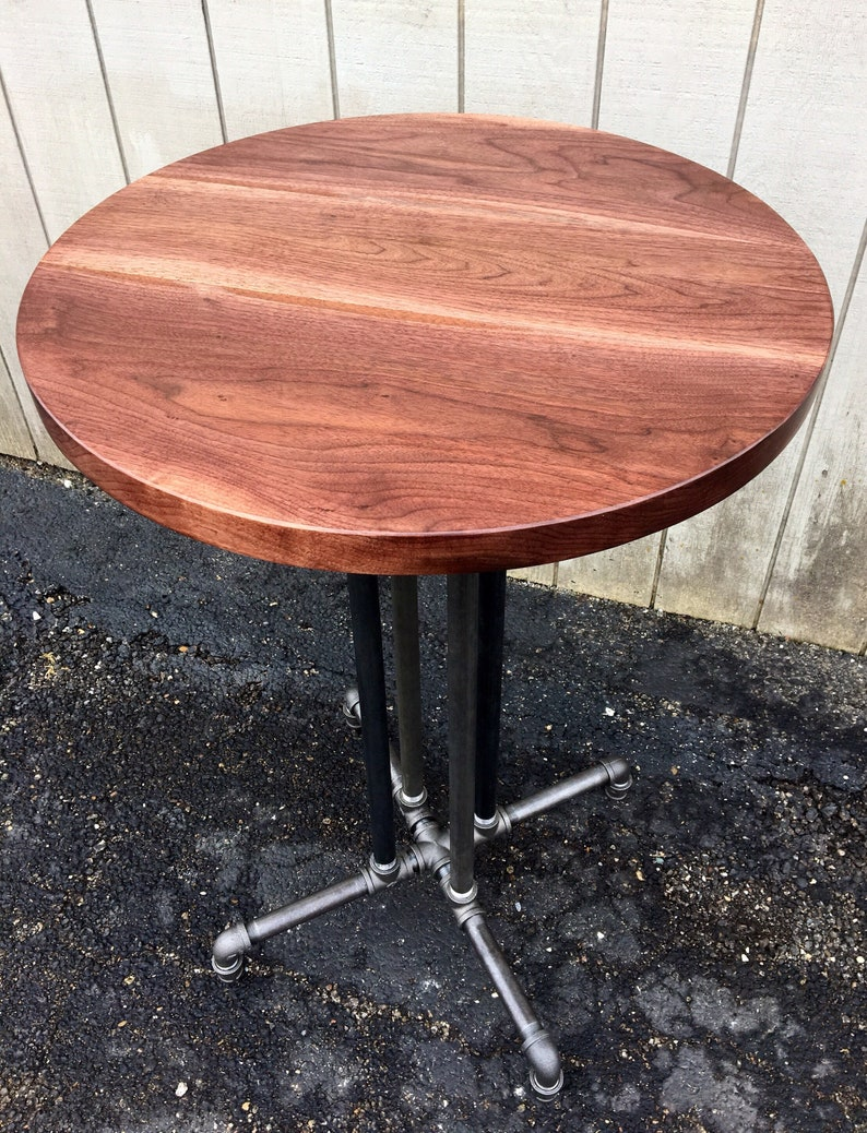 Round Table Reclaimed Wood Black Walnut Dining Table Bar Reclaimed Wood  Round Table Cafe Table Black Walnut Pub Table Restaurant Tabletop