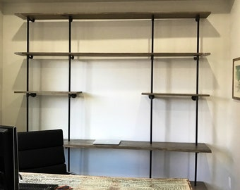 Desk with Bookshelf, Built In Desk Shelf, Reclaimed Wood Floating Desk