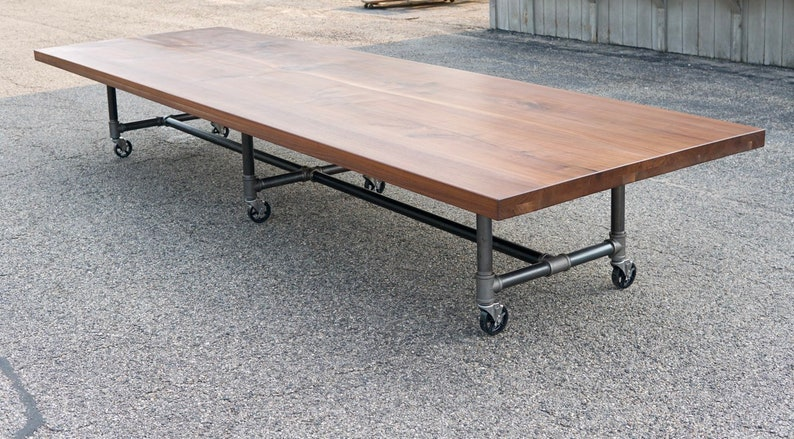 Walnut Conference Table Reclaimed Wood Industrial Live Edge image 0