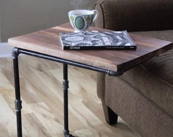 Walnut C Table, Reclaimed Wood Side Table,  Laptop Desk, Reclaimed Wood Desk, Walnut Table, Under Couch Table, TV Table