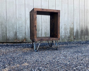 MCM Bed Side Table With Shelf Reclaimed Wood, Hairpin Legs
