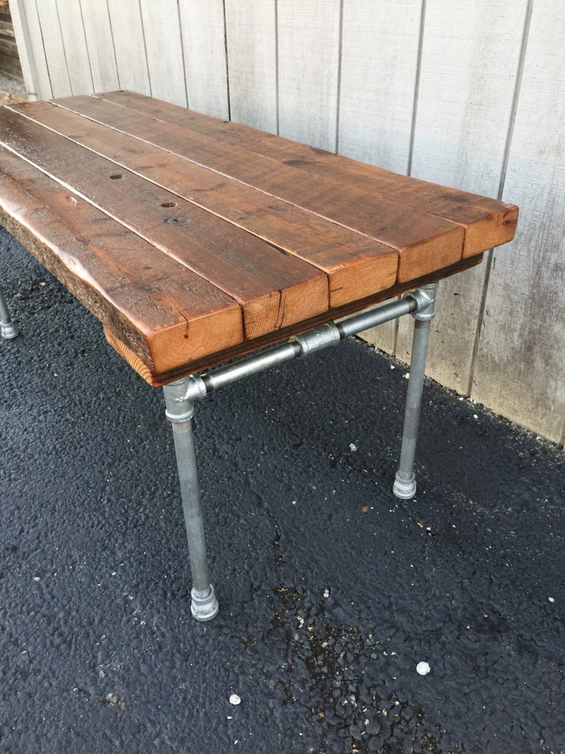 The Nickel Foundry Bench Reclaimed Wood Beam Rustic Bench Slab image 0