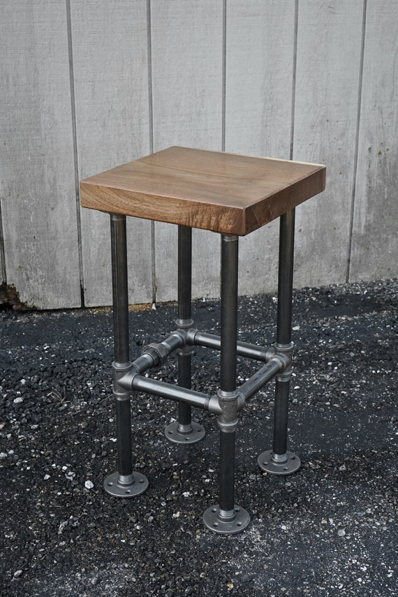 Excellent Reclaimed Wood Barstool Chair Drafting Stool Walnut Industrial Stool Chair Rustic Industrial Bar Seating Stool Mcm Rustic Black Iron Stool Alphanode Cool Chair Designs And Ideas Alphanodeonline