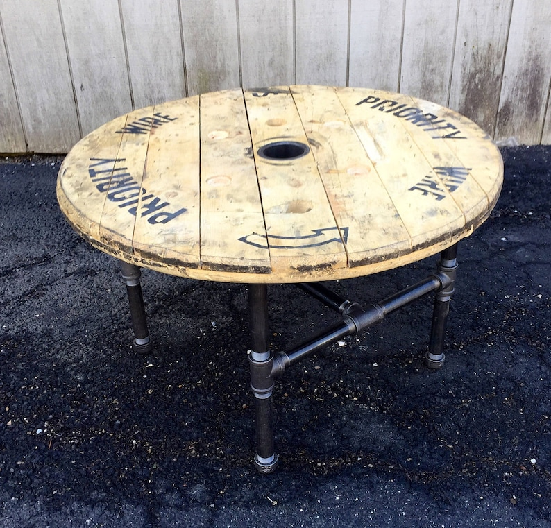 060eb0906a8f1 Reclaimed Wood Spool Coffee Table Industrial Coffee Table Upcycled Wire  Spool Industrial Cart Table With Pipe Base