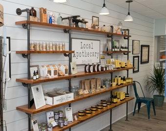 Reclaimed Wood Retail Shelving, Floor to Ceiling Bookshelf, Industrial Shelf with Built In Desk