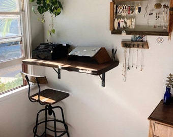 Wall Mounted Live Edge Table Desk Walnut Shelf Reclaimed Wood Bookshelf Floating Vanity Bathroom