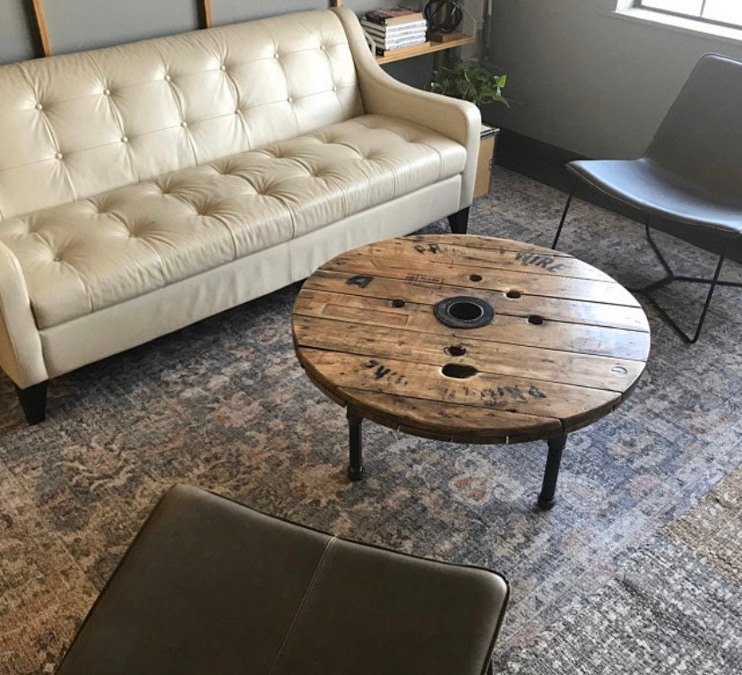Reclaimed Wood Spool Coffee Table, Wooden Wire Spool Coffee Table