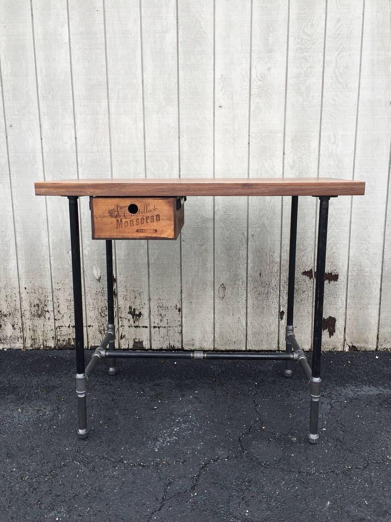 Live Edge Walnut Desk Reclaimed Wood Desk with Drawer & image 0