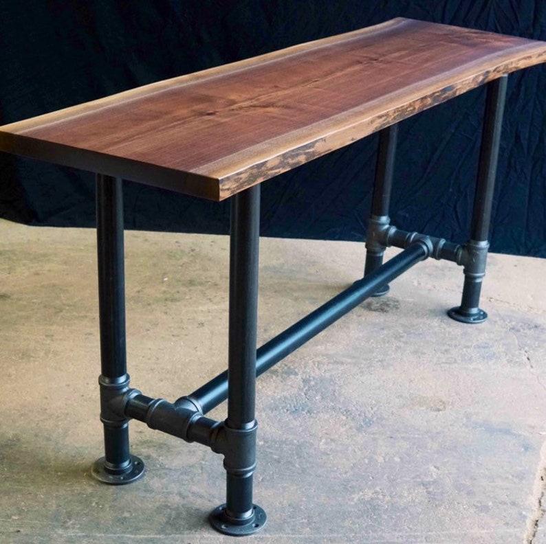 The Foundry Table Reclaimed Bar Table Solid Black Walnut image 0