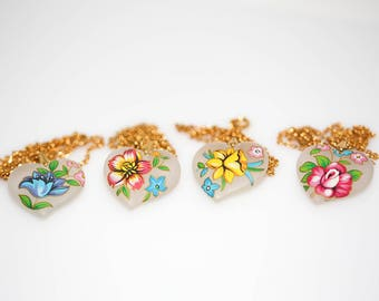 Hand Painted Frosted Hearts Necklace - Vintage