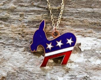 Political Democratic Donkey Necklace