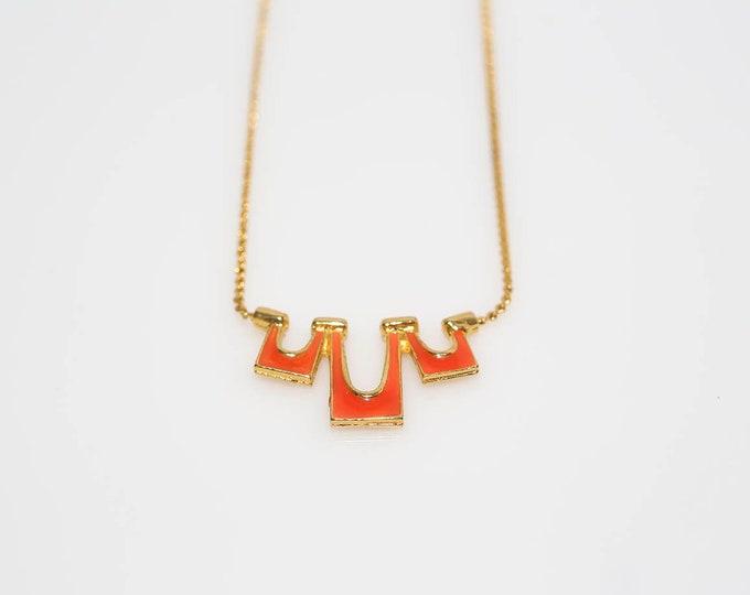 Featured listing image: Orange Enamel Triple Drop Necklace