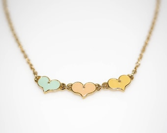 Tri-color Enameled Hearts