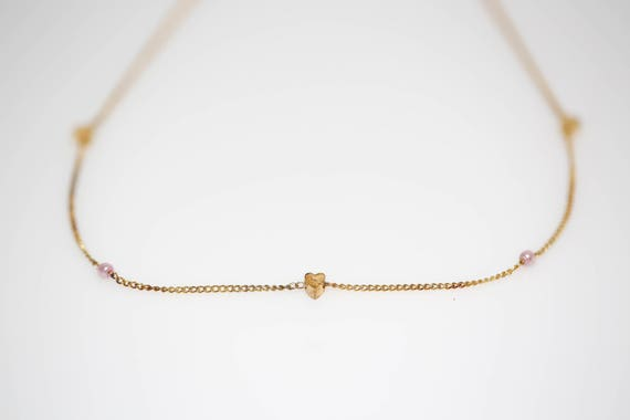 Delicate Pink Pearl and Heart Necklace