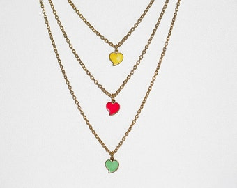 Colorful Enameled Heart Necklace