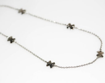 Silver X Necklace