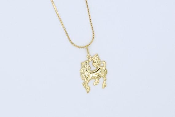 Gold Unicorn Necklace – Vintage NOS - image 1