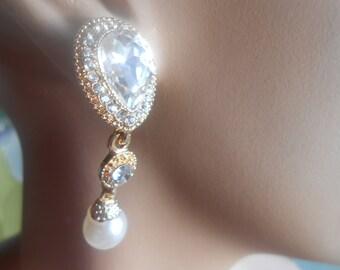 Wedding bridal swarovski pearl/ cristal drop earring 18 k gold filled