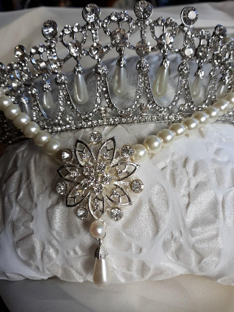 Princess Diana wedding Tiara Inspired Crystal Bridal Silver crownquinceanera Prom