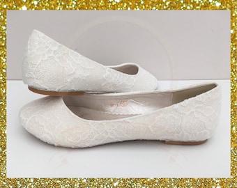 b54588b7ac9c White lace bridal shoes