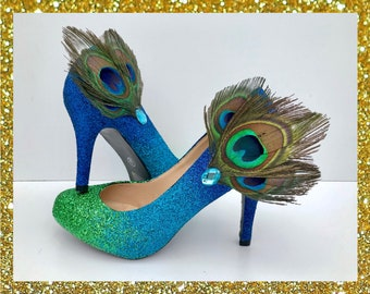 f5b9dd1710bf Ombre peacock feather heels