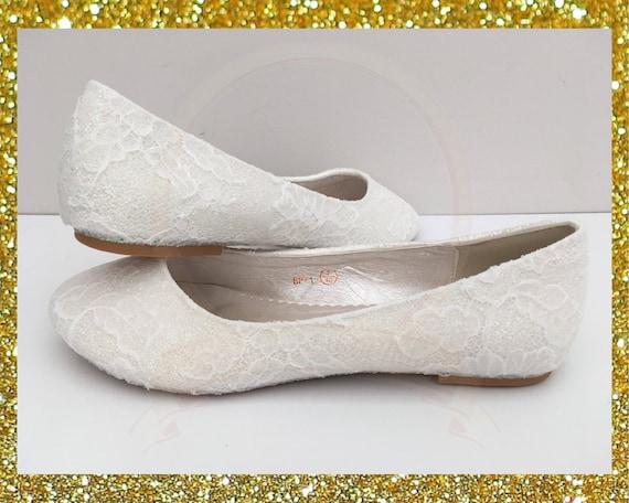 fec4ebadb8e White lace bridal shoes Lace flat shoes White bridal shoes