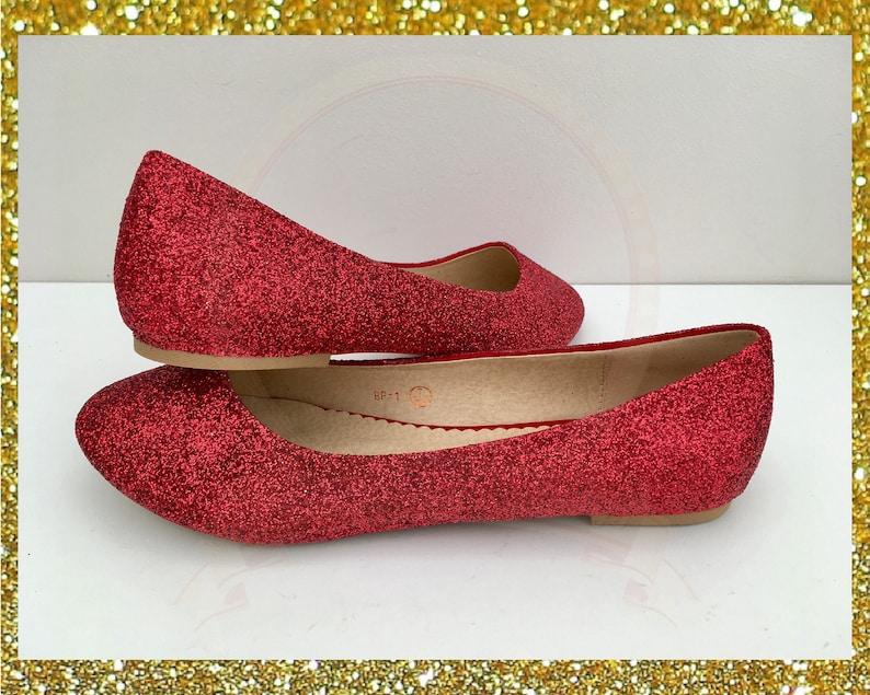 6f9eb431995c Red glitter flats Red ballerina pumps Glitter flat shoes