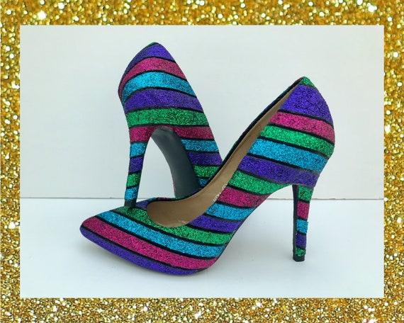 Glitter stripe heels Designer glitter