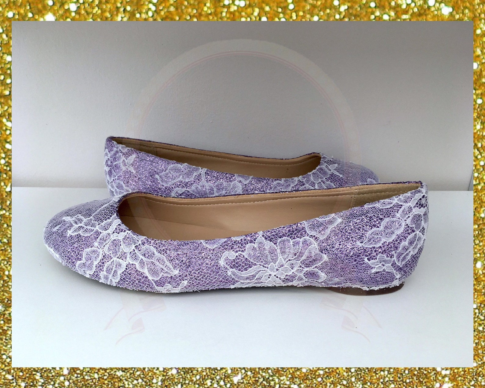 lace wedding shoes, flat wedding shoes, lilac wedding shoes, lace flat shoes, custom wedding shoes, glitter shoes, ballet flats,