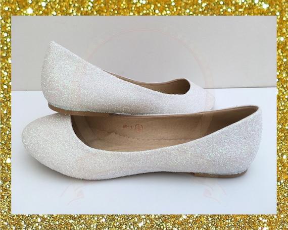 selezione premium 0a4c4 85a4e Bianco glitter appartamenti, ballerine bianche, Womens scarpe basse, Scarpe  sposa, scarpe su glitter, Glitter Scarpe sposa, regalo per lei
