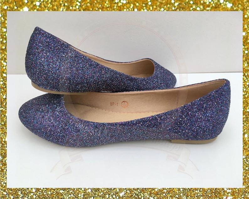 e5ead1dbd596a Galaxy Glitter Flats Glitter Pumps Ballerina Flats Customised Shoes Bridal  Wedding Bridesmaid Party UK Size 3 4 5 6 7 8