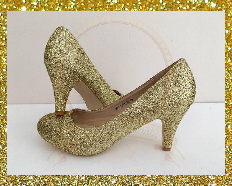 Gold glitter heels Champagne gold shoes Gold bridal heels  c9676749ab09
