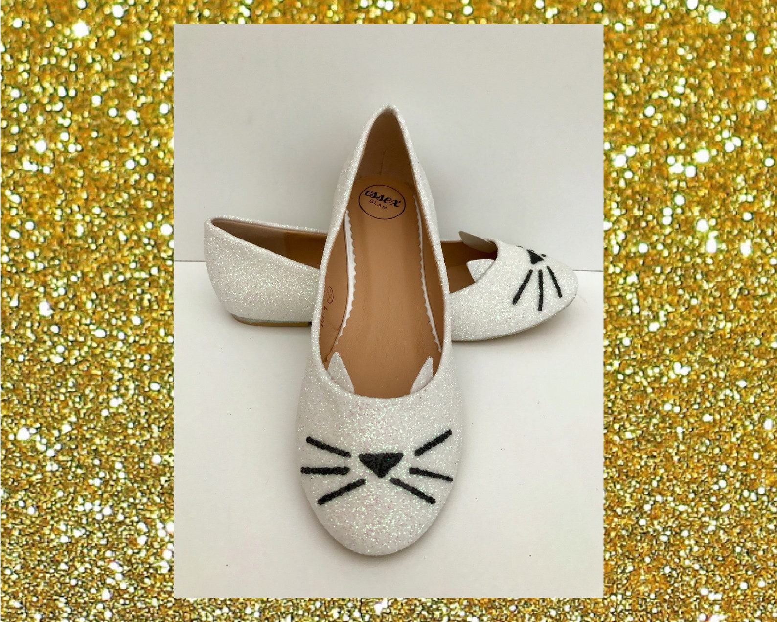 white cat shoes, white glitter flats, cat wedding shoes, cute cat shoes, white ballet flats, flat wedding shoes, wedding shoes f