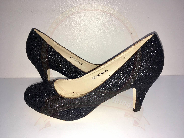 ad733f8f31aa Black Glitter Heels Glitter Shoes Mid Heel Court Shoe