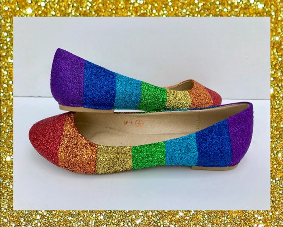 Rainbow shoes for women Glitter shoes
