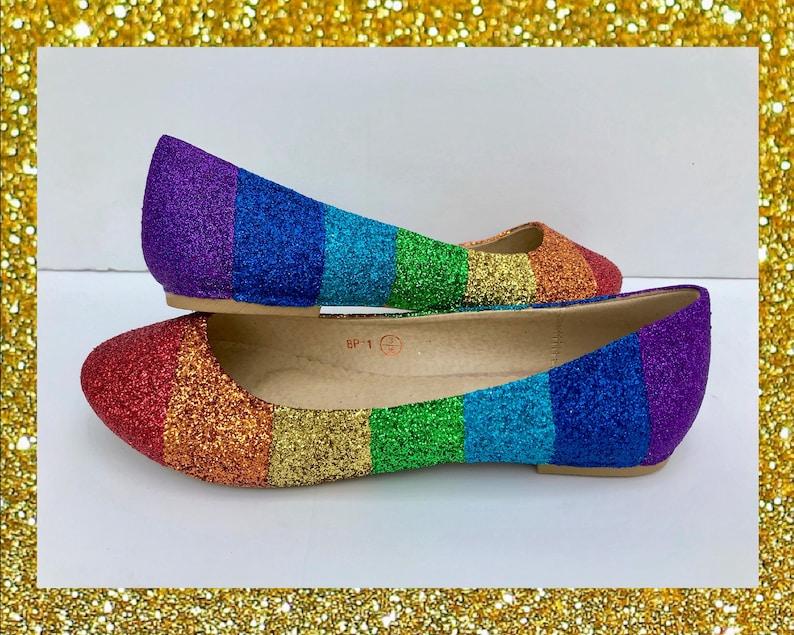c4c97b2e5ac44 Rainbow shoes for women, Glitter shoes for women, Rainbow glitter shoes,  Rainbow gift for women, Ballet flat wedding shoes, Prom shoes gift